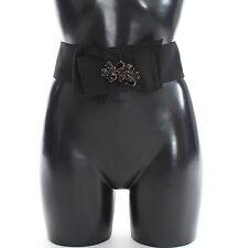 NEW $540 DOLCE & GABBANA Belt Black Floral SICILY Crystal Waist IT42 / US8 / M
