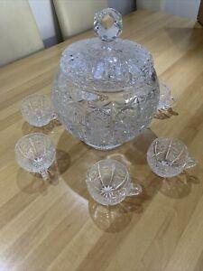 Schweres großes Bleikristall Bowle Service Set mit 6 Gläsern Alt Vintage