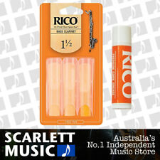 Rico Bass Clarinet Reeds 3 Pack Reed Size 1.5 ( 1 1/2 One Half ) + Cork Grease