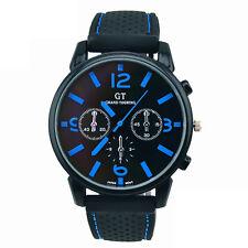 Men Fashion Stainless Steel Sport Rubber Cool Quartz Wrist Analog Watch Discount