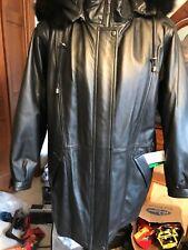 Field Gear Black Leather Fox Fur Trimmed Hood Coat Thermolite   M Medium Tags
