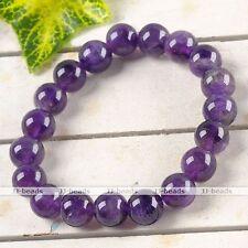 Amethyst Gemstone Round Beads Healing Point Lucky Stone Bangle Bracelet Gift