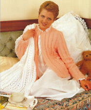 LADIES GIRLS BEDJACKET & SHAWL KNITTING PATTERN 34 TO 44 INCH (1472)