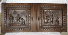 """Pair of 17"""" Tall French Antique Carved Panels Oak Wood Petanque and Danse Scenes"""