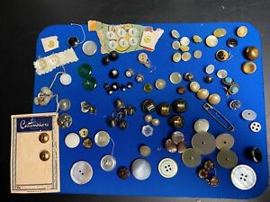Grandma's Oldest Buttons Lot of different shapes, rhinestones, cat eyes agates