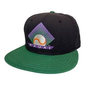 Vintage 90s New Era Kauai Emeralds Hawaii Winter MiLB Baseball Snapback Hat Cap