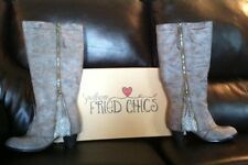 Southern Fried Chics Southern Sass boots - wide calf, gray, size 9.5, in box