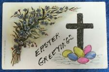 Antique Easter Postcard Hand Painted and Decorated with Cross, Eggs and Embossed