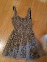 EUC 'Mimi Chica'  taupe lace sleeveless dress on a black linen dress size M