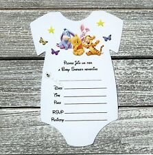 10 Winnie The Pooh Baby Shower Invitations with Envelopes - Fill In
