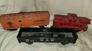 3 American Flyer S Gauge Freight Cars...  1 Reefer 1 Flat Car  1 Caboose
