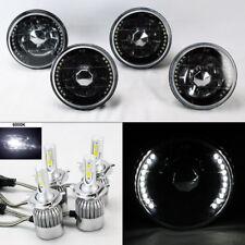 "FOUR 5.75"" 5 3/4 Round H4 Black Chrome DRL Glass Headlights w/ 36W LED H4 Bulbs"