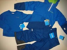 COLUMBIA youth BOYS twins SKI SNOW JACKET+PANTS BLUE navy green omni heat XS 6-7