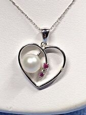 """LADIES HEART PENDANT WITH PEARL AND ACCENT RUBY'S IN 14K WHITE GOLD + 19"""" 14K GO"""