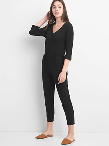 Gap 3/4 sleeve Tie jumpsuit, Sz M True Black (132240)