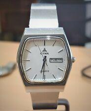 Vintage SS Cyma Swiss 2j quartz watch.