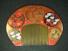 JAPANESE ANTIQUE MEIJI ERA  KANZASHI COMB HAIR PIECE OF BEKKO PEONY & MAPLE
