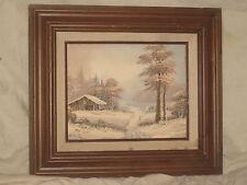 Vintage oil painting signed & framed winter wilderness scene Frank Jayson