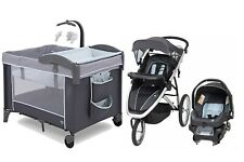 Baby Jogging Stroller Travel System with Car Seat Infant Playard Bassinet Combo