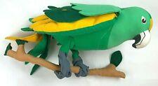 Vintage Angelitos Stuffed Animal Green Parrot Bird Toy Hand Made in El Salvador