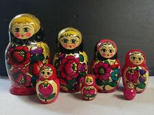 Russian Nesting Stacking Doll Dolls Set of 7 With Red/Pink Flowers