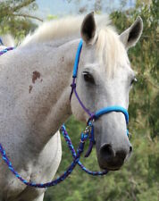 Bitless bridle/riding halter w plait reins purple/AQUA, sliding chinstrap