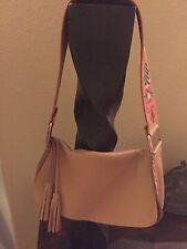 MIU MIU Vintage Handbag Shoulder Bag Embroidered Tan Soft Grain Leather RARE