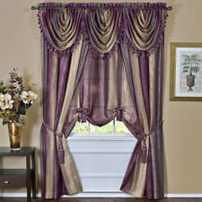Aubergine Striped Modern Semi-Sheer Light Filtering Window Curtain Drape Set