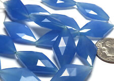 6 pcs BLUE CHALCEDONY 22mm Faceted Diamond Beads /s13