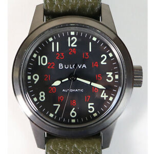 Men's Bulova Automatic Hack Wrist Watch Green Leather 21 Jewels Military 98A255