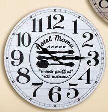 style NOSTALGIE/ Rétro Horloge murale de cuisine déco avec Dicton, blanc, 34 cm