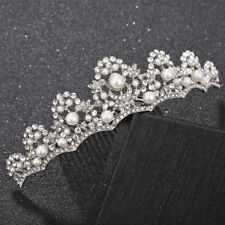Women Luxury Pearl Crown Bride Wedding Tiara Rhinestone Hair Comb Bridal Jewelry