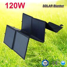 120W 12V Portable&Folding Solar Panel Blanket Kit +Controller Regulator Camping