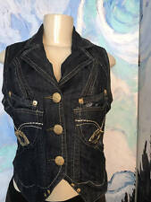 Apple Bottoms Juniors S/M Black Denim Logo Button Down Collar Sleeveless Vest