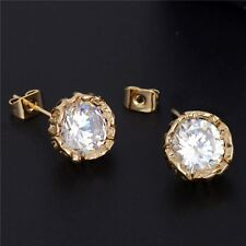 18K REAL GOLD FILLED ROUND STUD EARRINGS MADE WITH SWAROVSKI CRYSTALS GIFT
