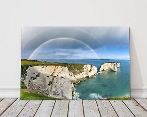old harry rocks rainbow dorset jurassic coast canvas picture print