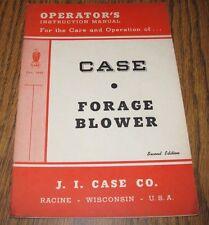 J, I. Case Forage Blower Operators Owners Instruction Manual 1948 Eagle Logo