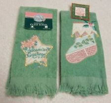 2 Vintage Christmas Holiday Embroidered Guest Fringed Towels Star & Stocking Nwt