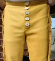 Men Handmade Native American Buckskin Leather pants Trouser Western Clothing