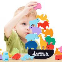 EG_ WOODEN DINOSAUR ANIMAL STACKING BLOCK BALANCE GAME EDUCATION KIDS TOY CHEERF