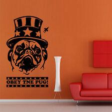OBEY THE PUG Wall Decal Dog Bulldog Sticker Animal Inscription Quote decor M629
