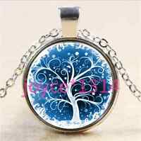 Vintage Tree of Life Cabochon Tibetan silver Glass Chain Pendant Necklace &2761