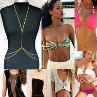 Stunning Body Chain Belly with crystal Bikini Sexy Beach Crossover tassel UK