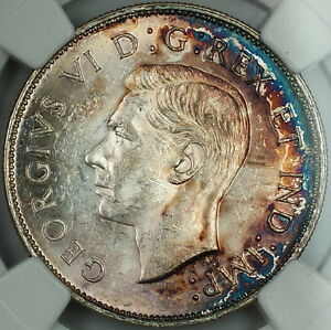 1942 Canada 50c Half Dollar, NGC MS-61, *Toned* Silver Coin