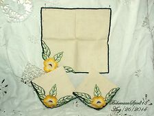 ANTIQUE VINTAGE #3 FRENCH YELLOW HAND EMBROIDERY FLOWERS LINENS TABLE NAPKIN SET