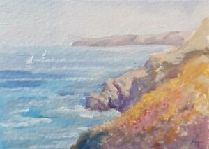 ACEO original oil painting of cliffs and boats in Cornwall