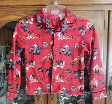 Child's Top PJ Shirt Boys 8-10 Cars Disney Pixar Red Long-Sleeved Button Front