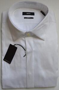 NWT Hugo Boss Black Sharp Fit French Cuffs Dress Tuxedo Shirt In White 17 36/37