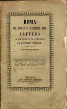Libro Roma nel giorno 8 Settembre 1846 Lettera Curato di Campagna a Vescovo 1846