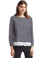 NWT Gap Lace Hem Long Bell Sleeve Pullover LARGE Navy Blue White Stripe Cotton